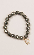 Kori Green Grey Bead with Oval Clear Stone Bracelet