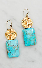 Kori Green Turquoise Gold Hammered Circle Earrings