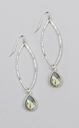 Kori Green Silver Oval Dangle with Teardrop Charm