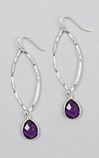 Kori Green Silver Oval Dangle with Purple Teardrop Charm