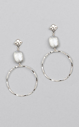Kori Green Silver Circle Post with Oval Moonstone Earrings