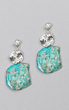 Kori Green Turquoise Stone and Silver Circle Earrings