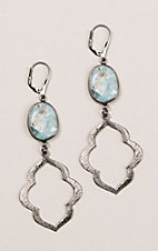 Kori Green Grey Dangle with Turquoise and White Oval Earrings
