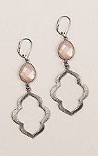 Kori Green Grey Dangle with Blush Oval Earrings