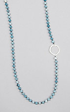 Kori Green Long Light Blue Bead with Silver Circle Necklace