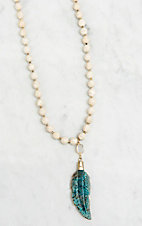 Kori Green Faceted Fossil Coral with Druzy Connector and Carved Magnesite Feather Necklace