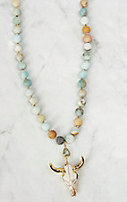 Kori Green Large Amazonite Beads with Bone and a Gold Skull Necklace