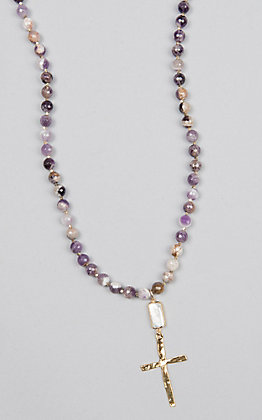 Kori Green Multi Purple Bead with Rectangle Pearl and Gold Cross Necklace
