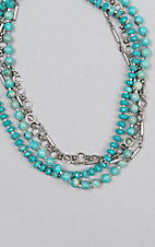 Kori Green Four Strand Turquoise Bead and Silver Necklace