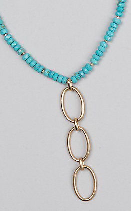 Kori Green Turquoise Bead with Three Gold Oval Dangle Choker