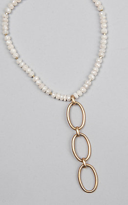 Kori Green White Bead with Three Gold Oval Dangle Choker