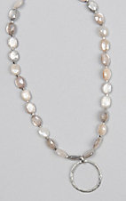 Kori Green Multi White Oval Bead with Silver Circle Choker