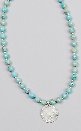 Kori Green Turquoise Bead with Silver Pendant Choker