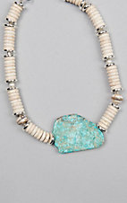 Kori Green White and Silver Round Bead with Turquoise Stone Choker