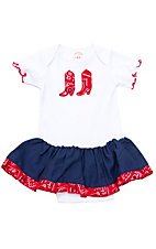 Kiddie Korral Girls' White and Red Bandana Onesie