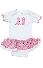 Baby Korral White and Pink Bandanna Onesie