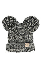 C.C. Beanies Youth Double Pom Pom Black Beanie