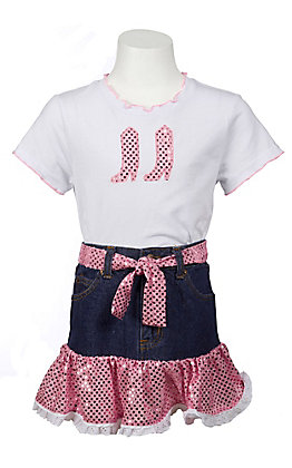 Kiddie Korral 2 Piece Denim and Pink Sequin Tee and Skirt Outfit
