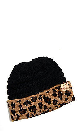 C.C. Exclusives Kids' Black with Leopard Beanie