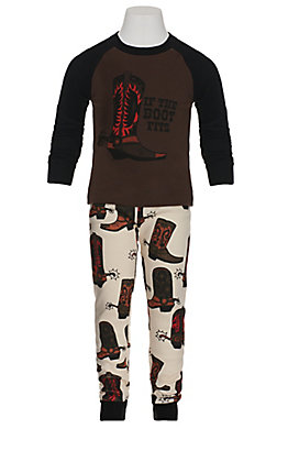 LazyOne Boys' If The Boot Fits Long Sleeve Pajamas