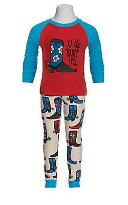 LazyOne Girls' If The Boot Fits Long Sleeve Girl Pajamas