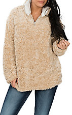 Peach Love Women's Beige Fleece Pullover