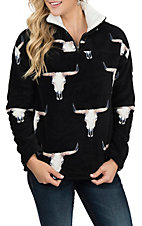 Berry N Cream Women's Black Skull Print Pullover Jacket