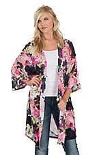 Berry N Cream Women's Navy, Fuschia and Green Floral Kimono