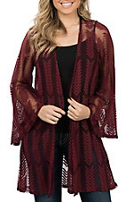 Peach Love Women's Burgundy Tonal Long Sleeve Kimono