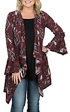 Peach Love Women's Burgundy Aztec Feather Print Cardigan