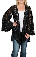 Berry N Cream Women's Black Burnout Mesh Kimono