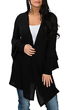 Berry N Cream Women's Black Ruffle Cardigan