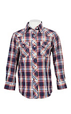 Cowgirl Legend Girls Blue and Orange Dobby Plaid L/S Western Snap Shirt
