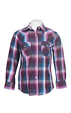 Cowgirl Legend Pink and Blue Plaid L/S Western Snap Shirt