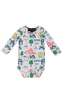 Cowgirl Legend Infants White Farm Scene Long Sleeve Onesie