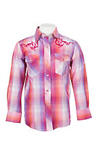 Cowgirl Legend Girls Pink, Purple and Orange Plaid L/S Western Snap Shirt