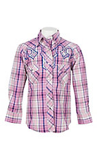 Cowgirl Legend Girls Purple Plaid L/S Western Snap Shirt