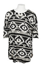 James C Girls Black and White Aztec 3/4 Sleeve Shirt