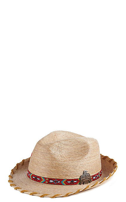 44c903dfe Atwood Women's Kelsey Tan Laced With Eagle Concho Straw Hat Fedora