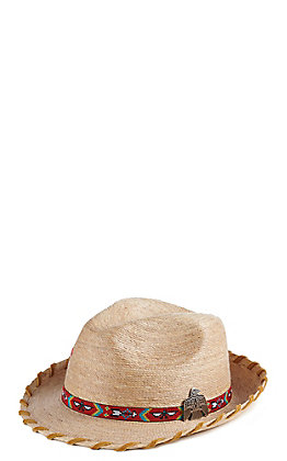Atwood Women's Kelsey Tan Laced With Eagle Concho Straw Hat Fedora