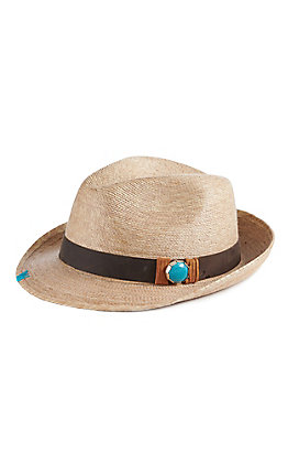 Atwood Women's Kelsey Tan Turquoise Concho Straw Hat Fedora