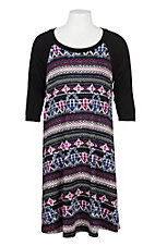 James C Girls Black, White, Magenta and Purple 3/4 Sleeve Dress