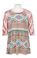 James C Girls Pink Aztec and Velvet 3/4 Sleeve Tunic Shirt