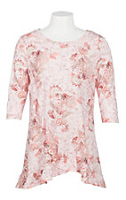 James C Girls Pink Floral Print Ruffle Shirt