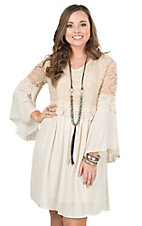 James C Women's Cream with Lace Chest and Shoulders Long Bell Sleeve Peasant Dress
