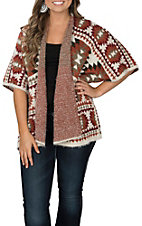 Anne French Women's Rust & Ivory Aztec Cardigan