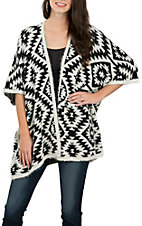 Anne French Women's Black & Ivory Ash Cardigan