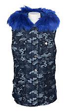 Vintage Havana Girls Blue Camo with Blue Fur Lined Vest