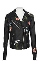 Vintage Havana Girls' Black Faux Leather with Floral Embroidery Jacket