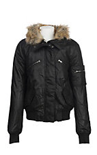 Vintage Havana Girls Black Matte & Faux Fur Bomber Jacket